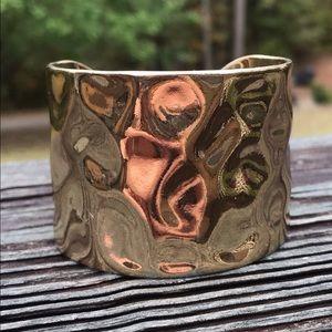 Vintage hammered gold cuff bracelet